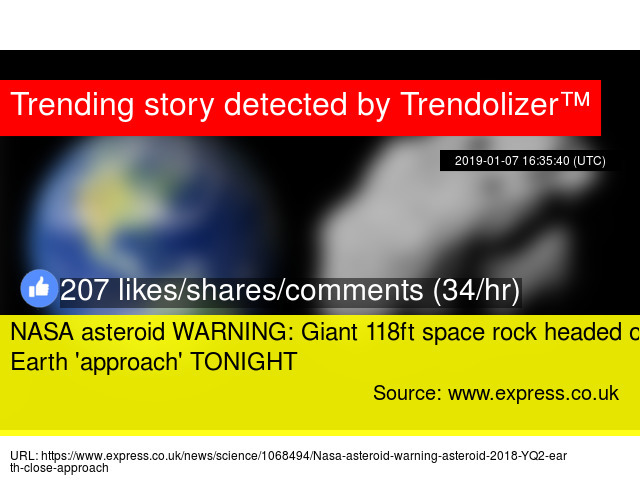 NASA asteroid WARNING: Giant 118ft space rock headed on