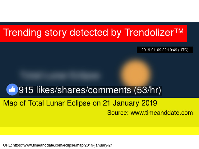 Map Of Total Lunar Eclipse On 21 January 2019
