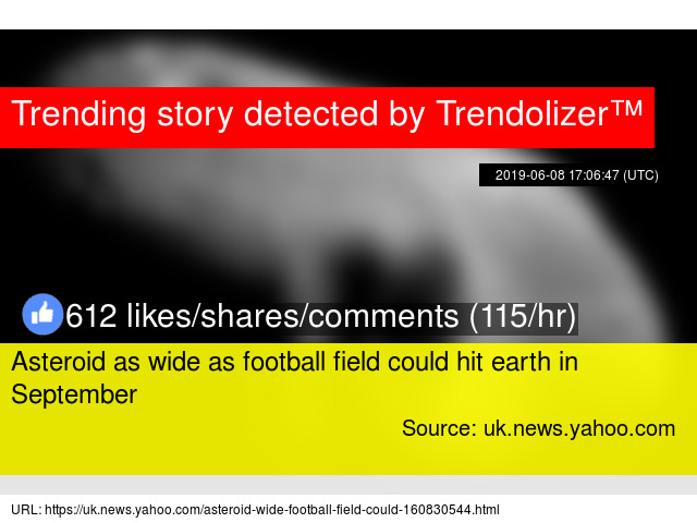 Asteroid as wide as football field could hit earth in September